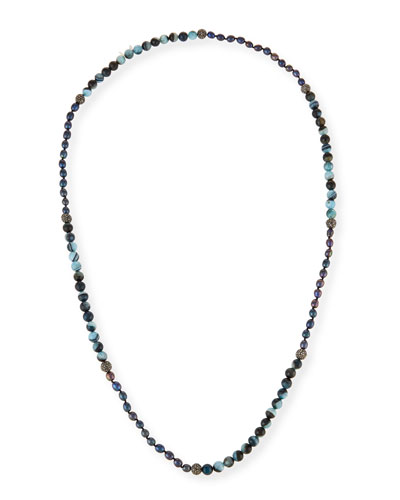 Francine Turquoise, Agate & Rhinestone Beaded Necklace