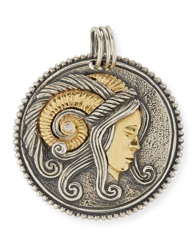 Aries Carved Zodiac Pendant with Diamond