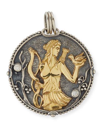 Sagittarius Carved Zodiac Pendant with Diamond