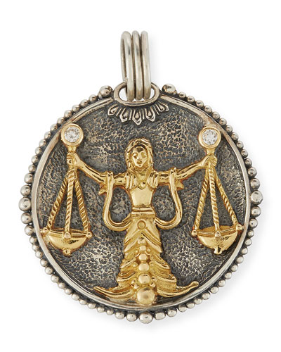 Libra Carved Zodiac Pendant with Diamond