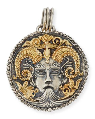 Capricorn Carved Zodiac Pendant with Diamond