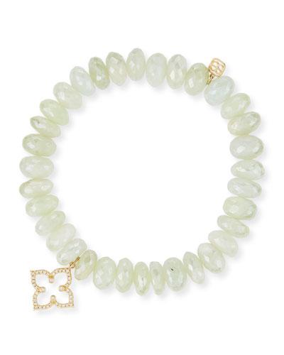 10mm Prenite Beaded Bracelet w/14K Gold Diamond Flower Charm