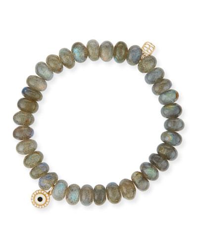 8mm Labradorite Bead Bracelet w/14K Gold Diamond Disc Charm