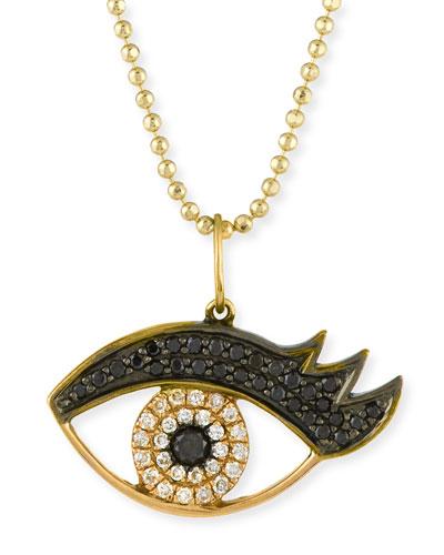 14K Gold Eyelash Pendant Necklace with Diamonds