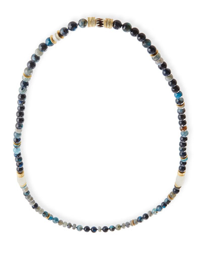 Long Beaded Blue Agate Single-Strand Necklace, 39