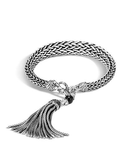 Batu Classic Chain Silver Tassel Bracelet with Black Onyx & Black Sapphire, ...