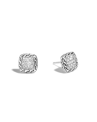 Classic Chain Pavé Diamond Square Earrings