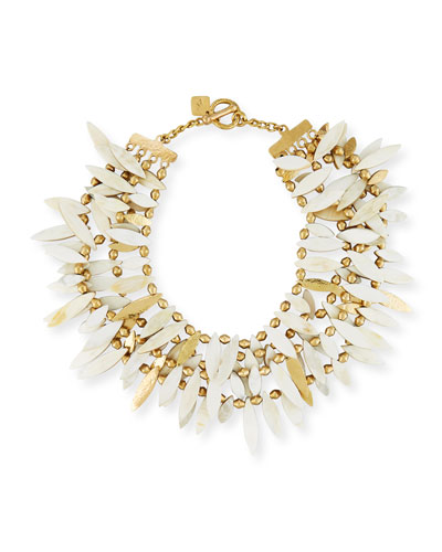 Thamani Statement Horn & Bronze Beaded Bib Necklace