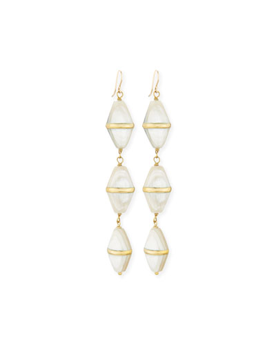 Siasa Light Horn & Bronze Triple-Drop Earrings