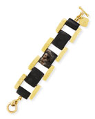 Muziki Dark Horn & Bronze Rectangular Link Bracelet