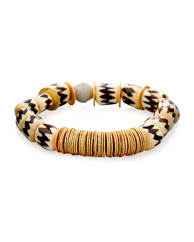 Kenyan Bead and Gold Disc Bracelet