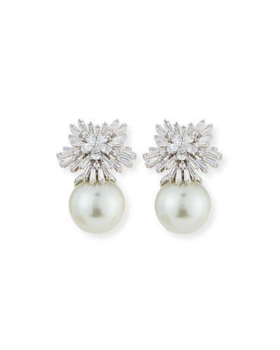 Crystal Starburst Pearly Earrings