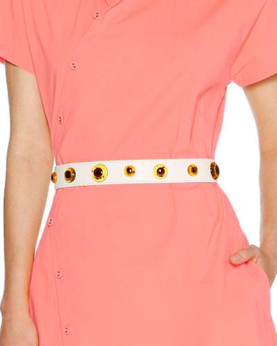 Amber-Stud Leather Waist Belt, Chalk/Amber