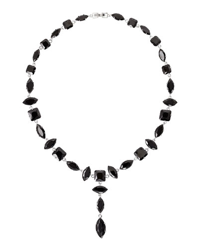 Jagged Edge Marquis Crystal Y-Drop Necklace, Jet