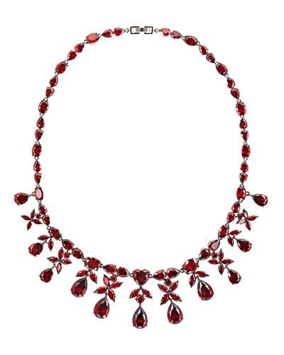 Monarch Crystal Heart Drop Necklace