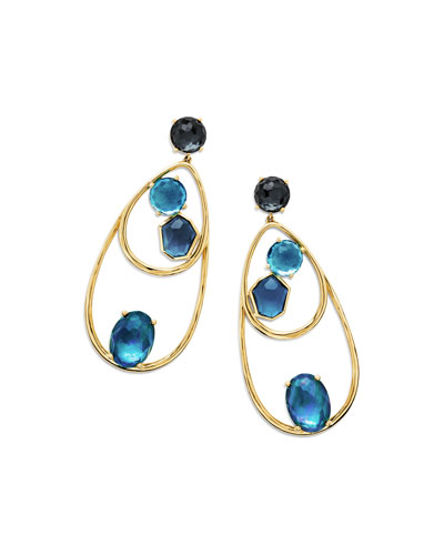 18K Rock Candy Double-Wire Mixed-Set Earrings in Midnight Rain