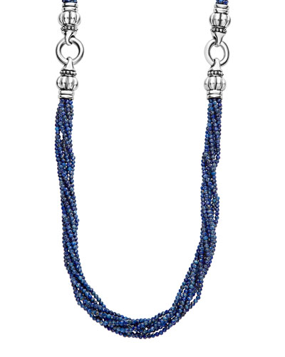 Caviar Icon Faceted Lapis Strand Necklace, 42