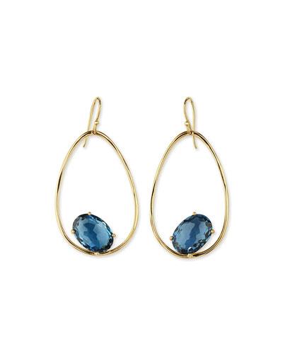 18K Rock Candy Tipped Oval Wire Earrings in London Blue Topaz