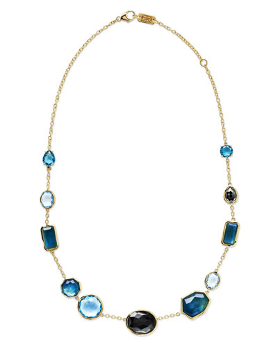 18K Rock Candy Mixed-Set Necklace in Steel Blue, 18