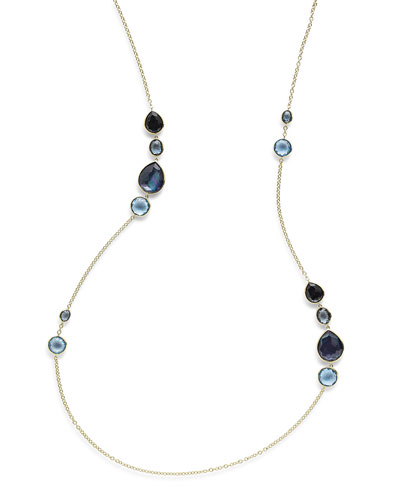 18K Rock Candy Gelato Grouped Station Necklace in Midnight Rain, 37