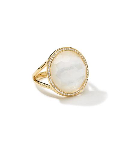 Small Diamond-Bezel Mother-of-Pearl Lollipop Ring