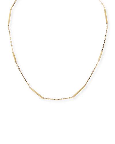 14K Gold Short Bar Station Necklace