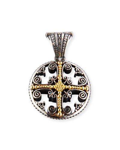 Etched Sterling Silver Pendant with 18K Gold Cross