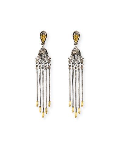 Etched Sterling Silver & 18K Gold Tassel Drop Earrings