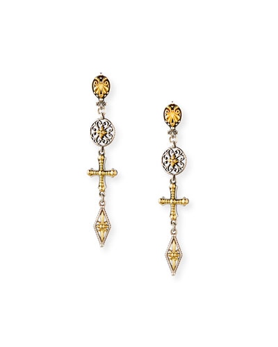 Etched Sterling Silver & 18K Gold Cross Drop Earrings