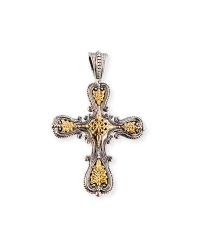 Granulated Sterling Silver & 18K Gold Cross Pendant