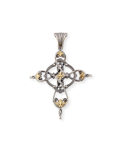 Etched Sterling Silver & 18K Gold Cross Pendant