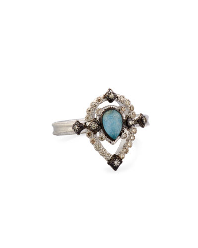 Petite New World Midnight Pear-Shaped Blue Quartz Triplet Ring with Diamonds