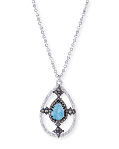 New World Blue Quartz Triplet Shield Pendant Necklace with Diamonds