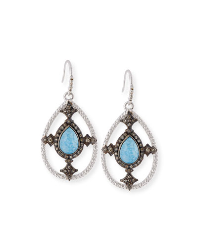 New World Blue Quartz Triplet Shield Drop Earrings with Diamonds