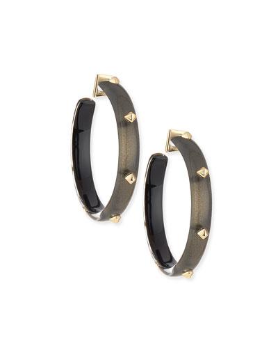 Golden Studded Hoop Earrings