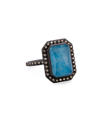 Old World Emerald-Cut Blue Quartz Triplet Ring with Diamonds