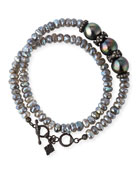 Old World Midnight Double-Wrap Beaded Bracelet