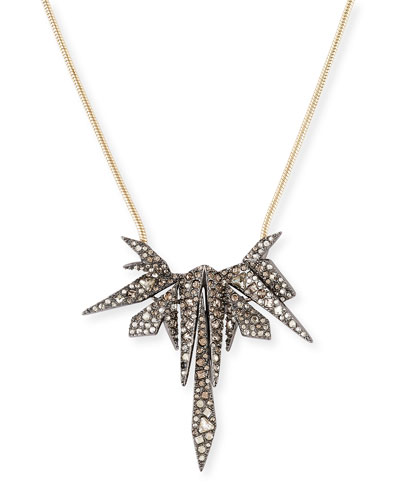 Two-Tone Spike Crystal Pendant Necklace