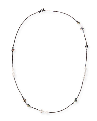 New World Scroll Chain Necklace with Keshi Pearls, 36