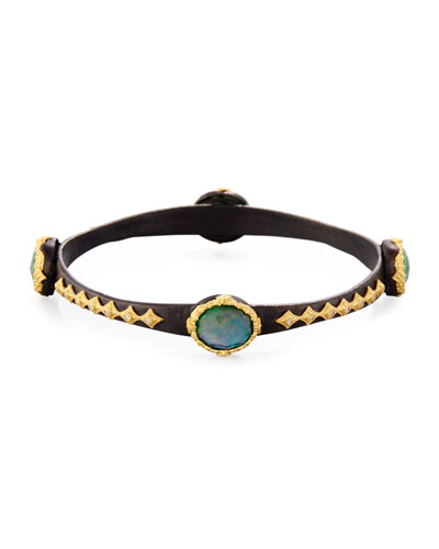 Old World Emerald Triplet Scallop Bangle