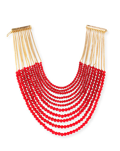 Raissa Multi-Strand Beaded Necklace, Burgundy