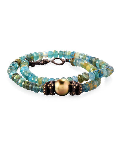 Old World Beaded Double-Wrap Bracelet with Diamonds