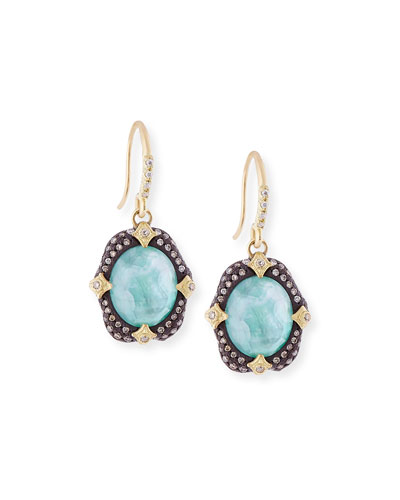 Old World Midnight Oval Crivelli Earrings with Diamonds