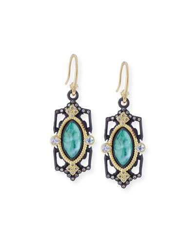 Old World Emerald Triplet Drop Earrings with Diamonds