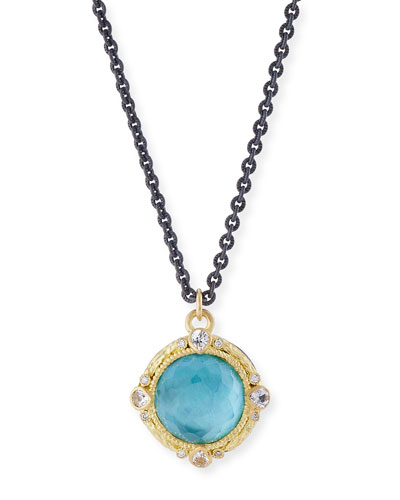 Old World Blackened Sterling Silver Round Pendant Necklace with Diamonds
