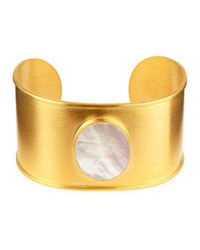 18K Gold-Plated Mother-of-Pearl Cuff Bracelet