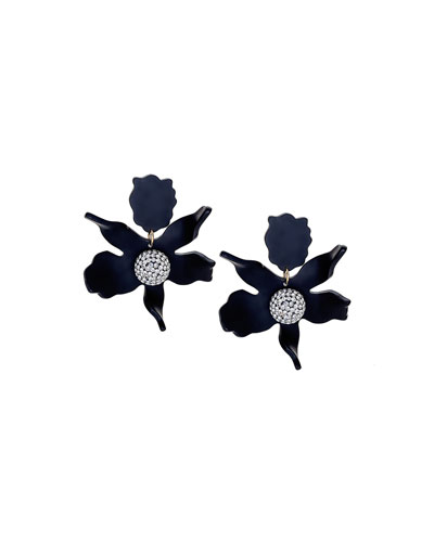 Crystal Lily Earrings, Black