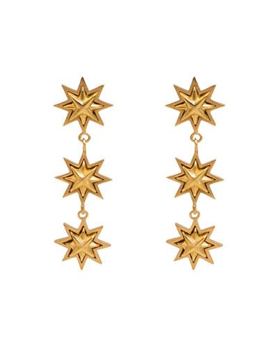 Triple Starburst Drop Earrings