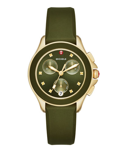 Cape Golden Chronograph Watch w/Silicone Strap, Green