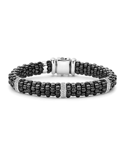 9mm Black Caviar Bracelet with Diamond Stations, Size Medium